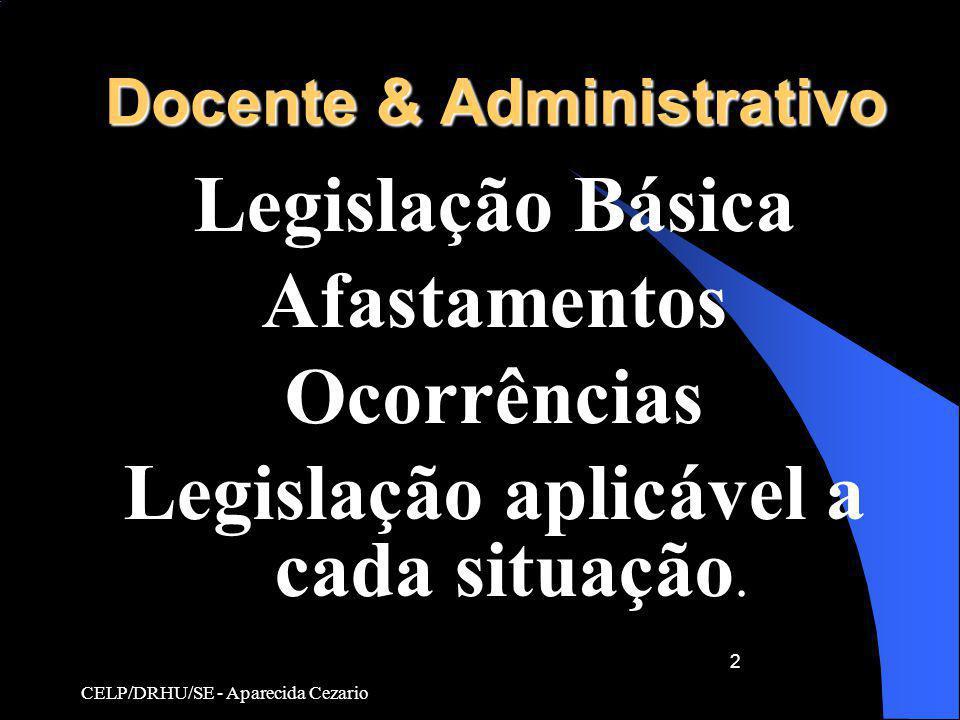 CELP/DRHU/SE - Aparecida Cezario 2 Docente & Administrativo Legislação Básica Afastamentos Ocorrências Legislação aplicável a cada situação.