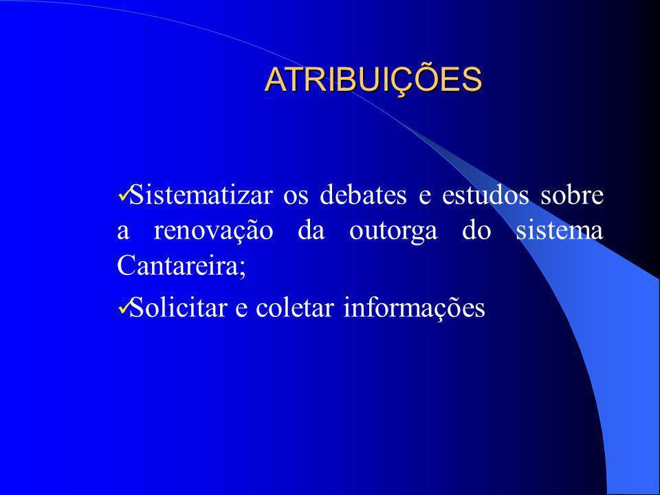 Promover discussões sobre as questões específicas da renovação da outorga do Sistema Cantareira Envolver principalmente, as Câmaras Técnicas dos Comit