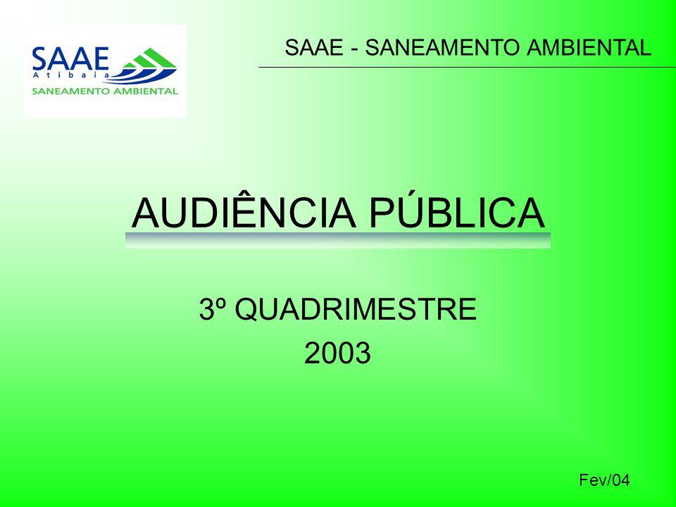 AUDIÊNCIA PÚBLICA 3º QUADRIMESTRE 2003 SAAE - SANEAMENTO AMBIENTAL Fev/04