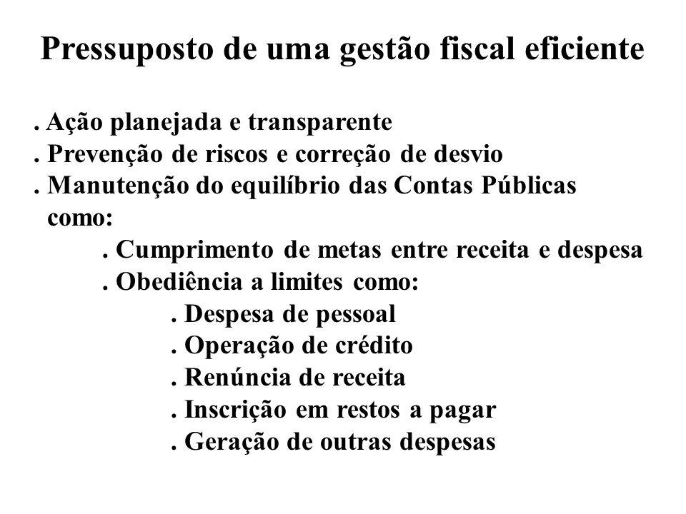 Pressuposto de uma gestão fiscal eficiente. Ação planejada e transparente. Prevenção de riscos e correção de desvio. Manutenção do equilíbrio das Cont