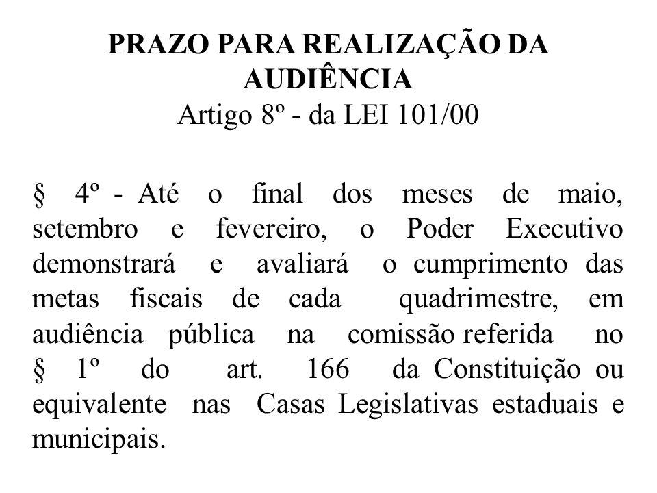 PRAZO PARA REALIZAÇÃO DA AUDIÊNCIA Artigo 8º - da LEI 101/00 § 4º - Até o final dos meses de maio, setembro e fevereiro, o Poder Executivo demonstrará