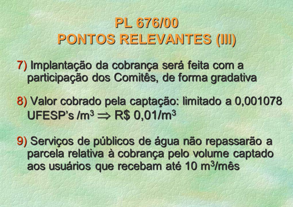PL 676/00 PONTOS RELEVANTES (III) 7) Implantação da cobrança será feita com a participação dos Comitês, de forma gradativa 8) Valor cobrado pela captação: limitado a 0,001078 UFESPs /m 3 R$ 0,01/m 3 9) Serviços de públicos de água não repassarão a parcela relativa à cobrança pelo volume captado aos usuários que recebam até 10 m 3 /mês