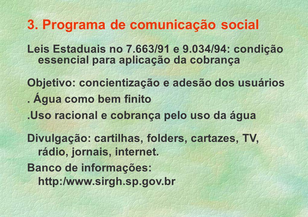 3. Programa de comunicação social Leis Estaduais no 7.663/91 e 9.034/94: condição essencial para aplicação da cobrança Objetivo: concientização e ades