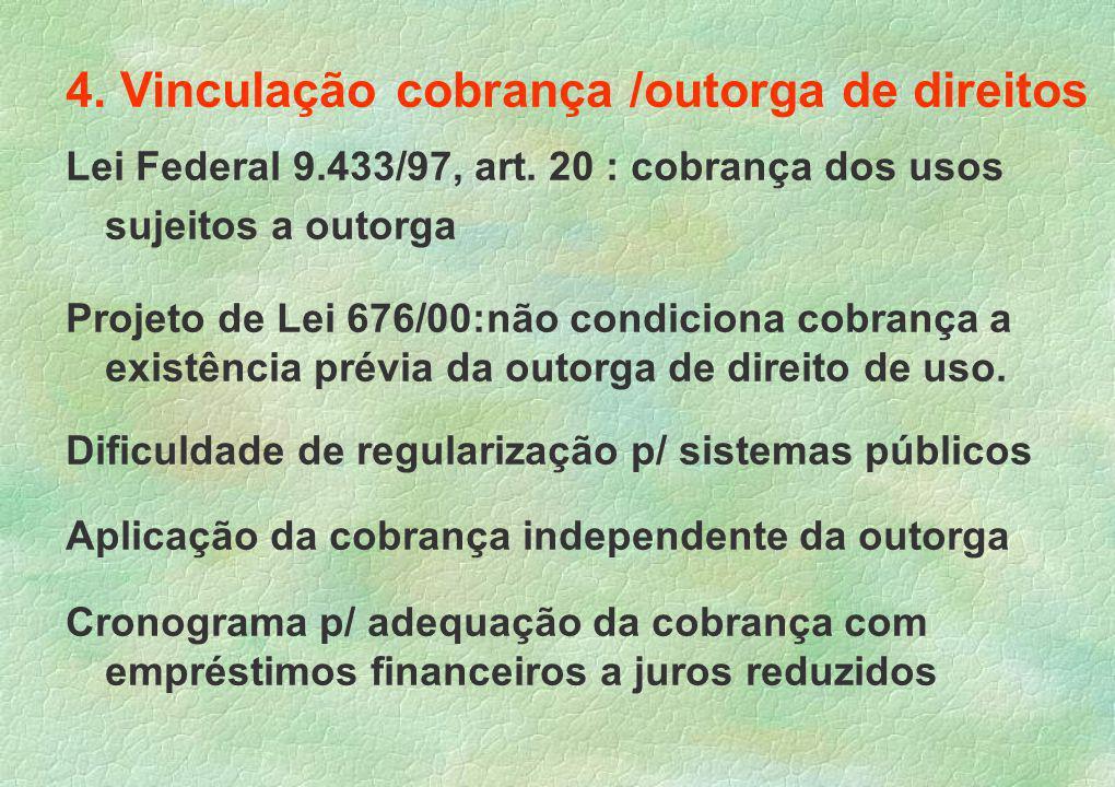 4.Vinculação cobrança /outorga de direitos Lei Federal 9.433/97, art.