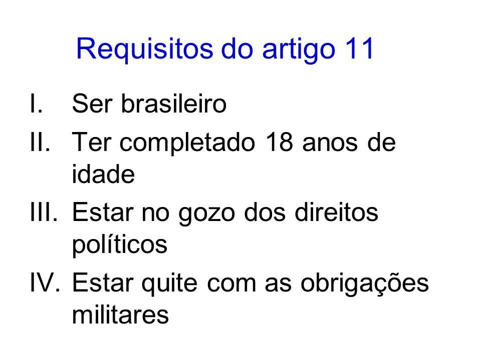 Requisitos do artigo 11 I.Ser brasileiro II.Ter completado 18 anos de idade III.Estar no gozo dos direitos políticos IV.Estar quite com as obrigações