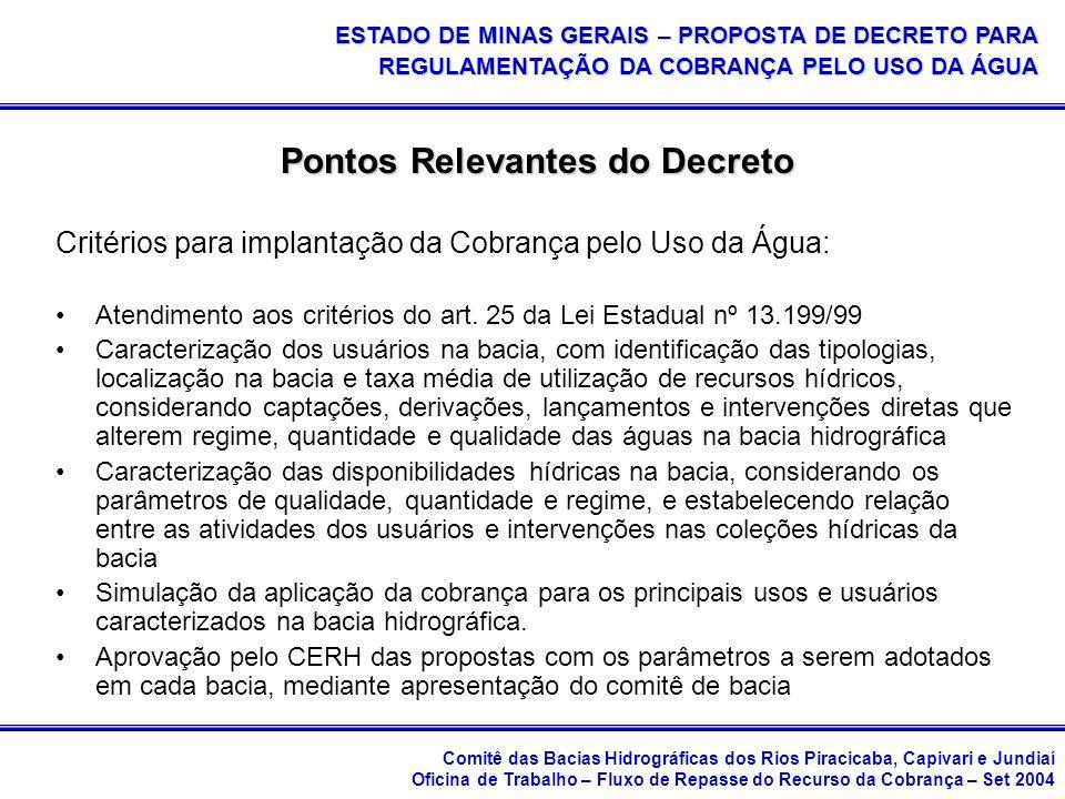 Comitê das Bacias Hidrográficas dos Rios Piracicaba, Capivari e Jundiaí Oficina de Trabalho – Fluxo de Repasse do Recurso da Cobrança – Set 2004 ESTADO DE MINAS GERAIS – PROPOSTA DE DECRETO PARA REGULAMENTAÇÃO DA COBRANÇA PELO USO DA ÁGUA Pontos Relevantes do Decreto Critérios para implantação da Cobrança pelo Uso da Água: Atendimento aos critérios do art.