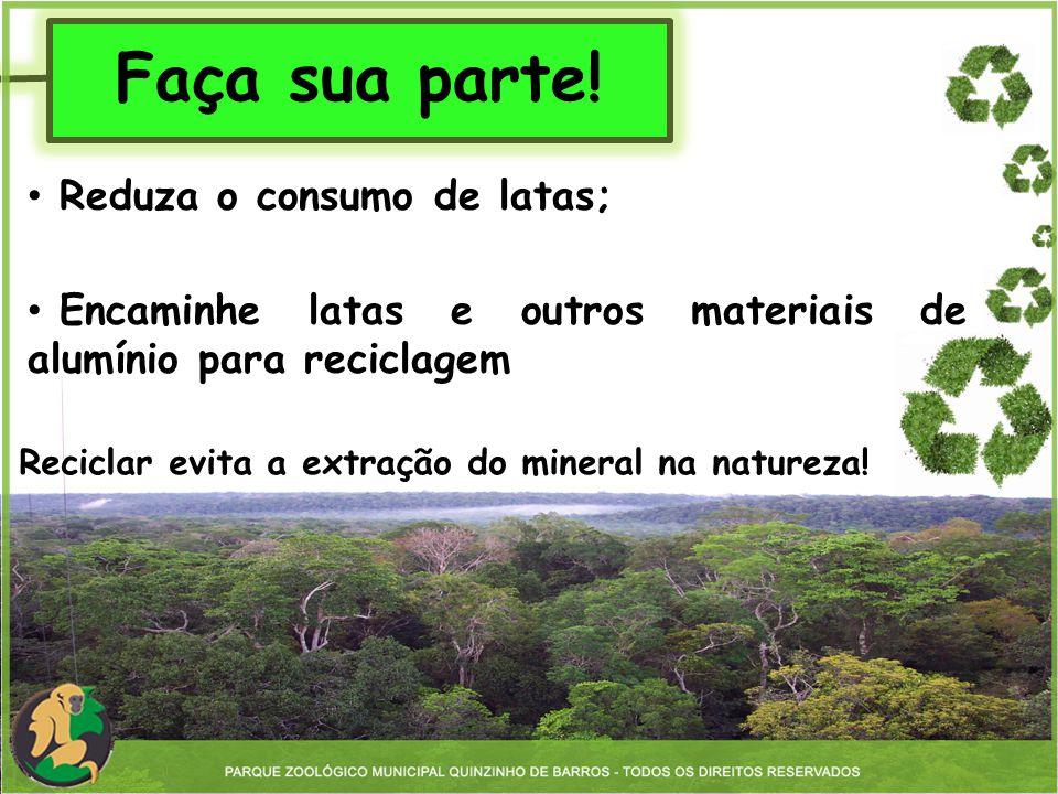 Faça sua parte! Reciclar evita a extração do mineral na natureza! Reduza o consumo de latas; Encaminhe latas e outros materiais de alumínio para recic