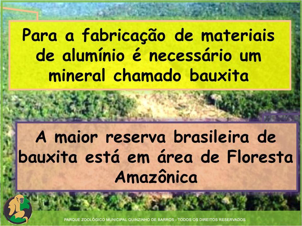 Para a fabricação de materiais de alumínio é necessário um mineral chamado bauxita A maior reserva brasileira de bauxita está em área de Floresta Amaz