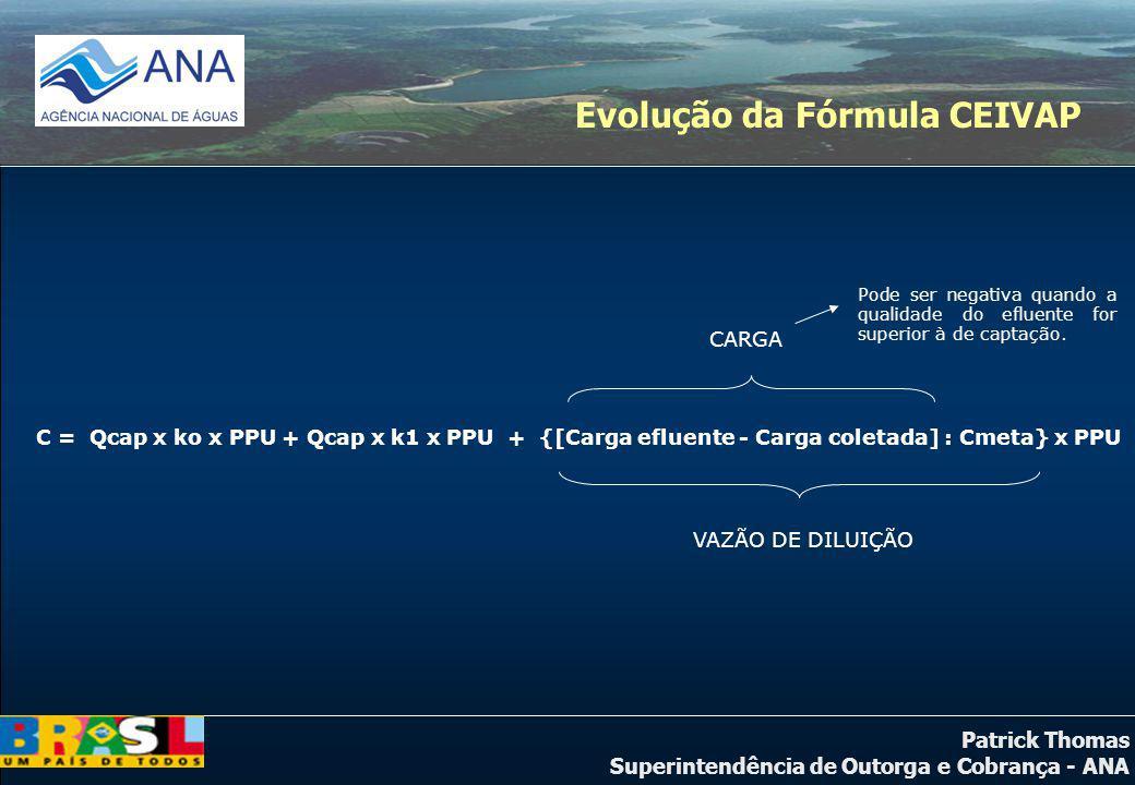 Patrick Thomas Superintendência de Outorga e Cobrança - ANA C = Qcap x ko x PPU + Qcap x k1 x PPU + {[Carga efluente - Carga coletada] : Cmeta} x PPU