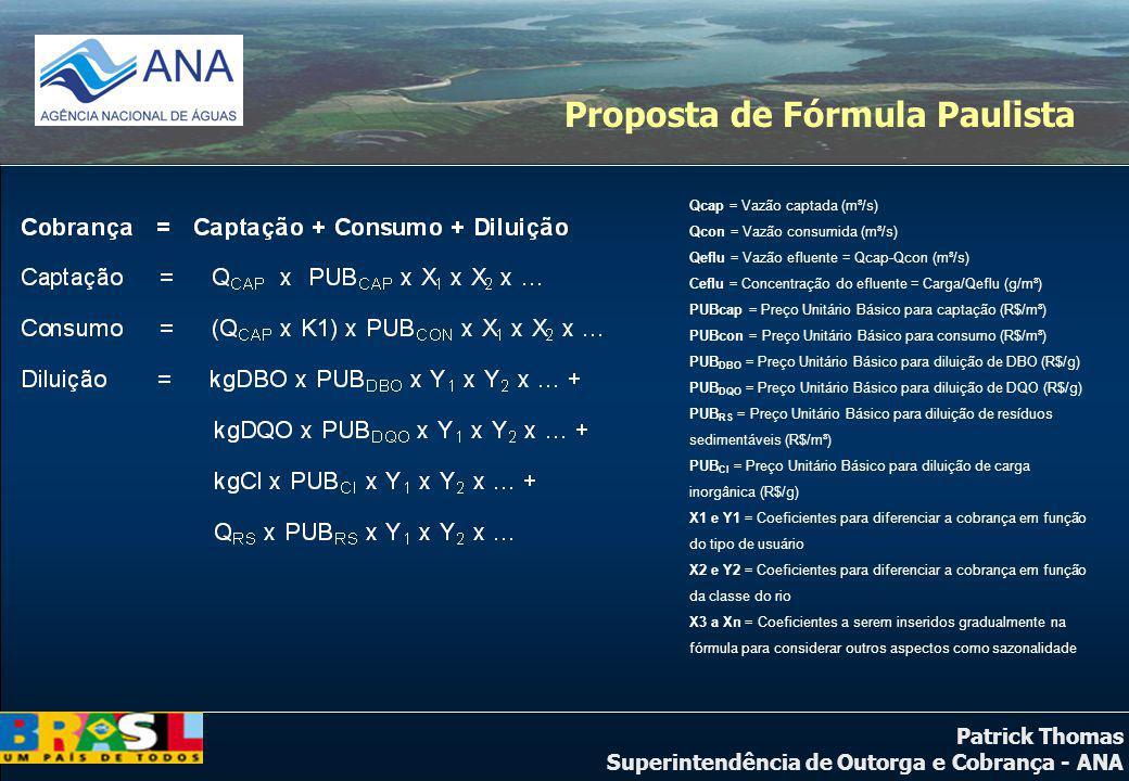 Patrick Thomas Superintendência de Outorga e Cobrança - ANA Proposta de Fórmula Paulista Qcap = Vazão captada (m³/s) Qcon = Vazão consumida (m³/s) Qef