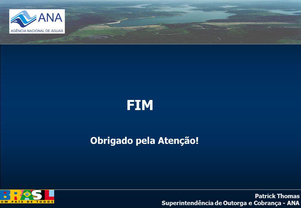 Patrick Thomas Superintendência de Outorga e Cobrança - ANA FIM Obrigado pela Atenção!