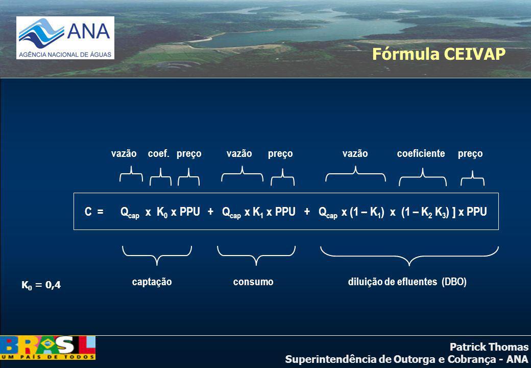 Patrick Thomas Superintendência de Outorga e Cobrança - ANA Conclusões A Fórmula Paulista, apesar de considerar a carga na sua base de cálculo, apresenta uma distribuição relativa dos valores arrecadados entre os tipos de uso (captação, consumo e diluição) semelhante à Fórmula do CEIVAP.