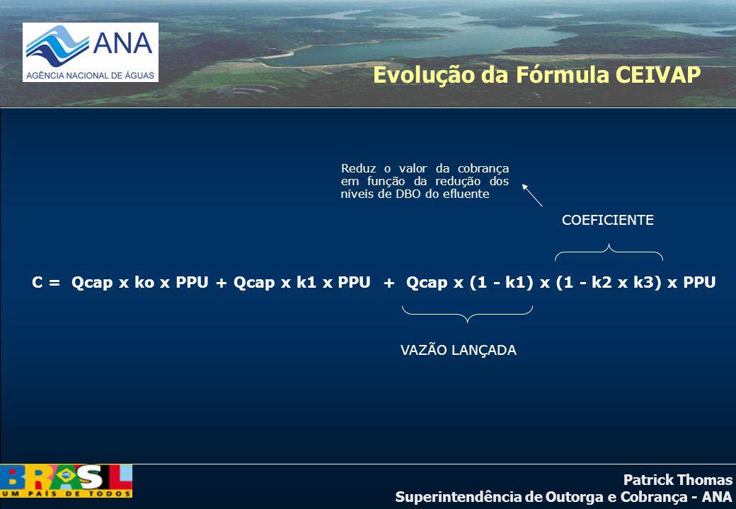 Patrick Thomas Superintendência de Outorga e Cobrança - ANA C = Qcap x ko x PPU + Qcap x k1 x PPU + Qcap x (1 - k1) x (1 - k2 x k3) x PPU COEFICIENTE