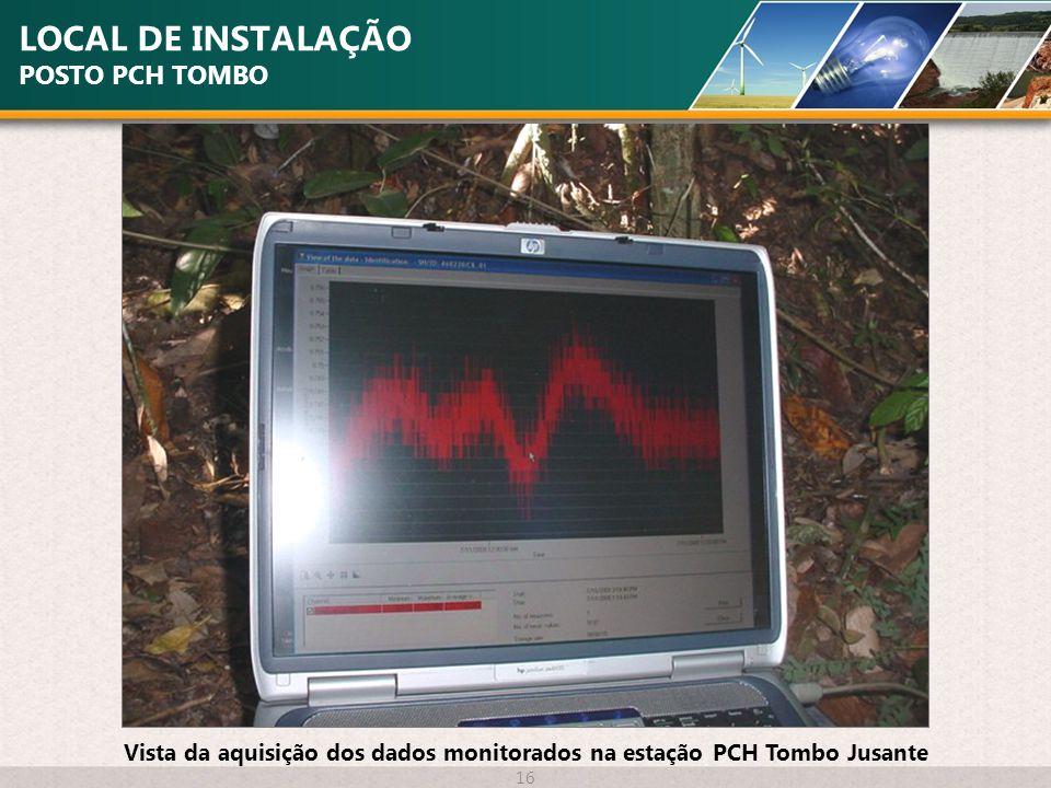 LOCAL DE INSTALAÇÃO POSTO PCH TOMBO 16 Vista da aquisição dos dados monitorados na estação PCH Tombo Jusante