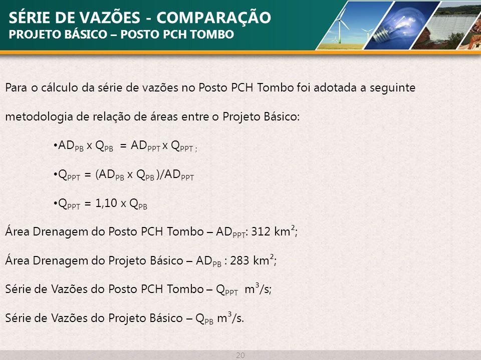 SÉRIE DE VAZÕES - COMPARAÇÃO PROJETO BÁSICO – POSTO PCH TOMBO 20 Para o cálculo da série de vazões no Posto PCH Tombo foi adotada a seguinte metodolog