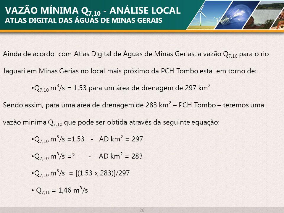 VAZÃO MÍNIMA Q 7,10 - ANÁLISE LOCAL ATLAS DIGITAL DAS ÁGUAS DE MINAS GERAIS 28 Ainda de acordo com Atlas Digital de Águas de Minas Gerias, a vazão Q 7