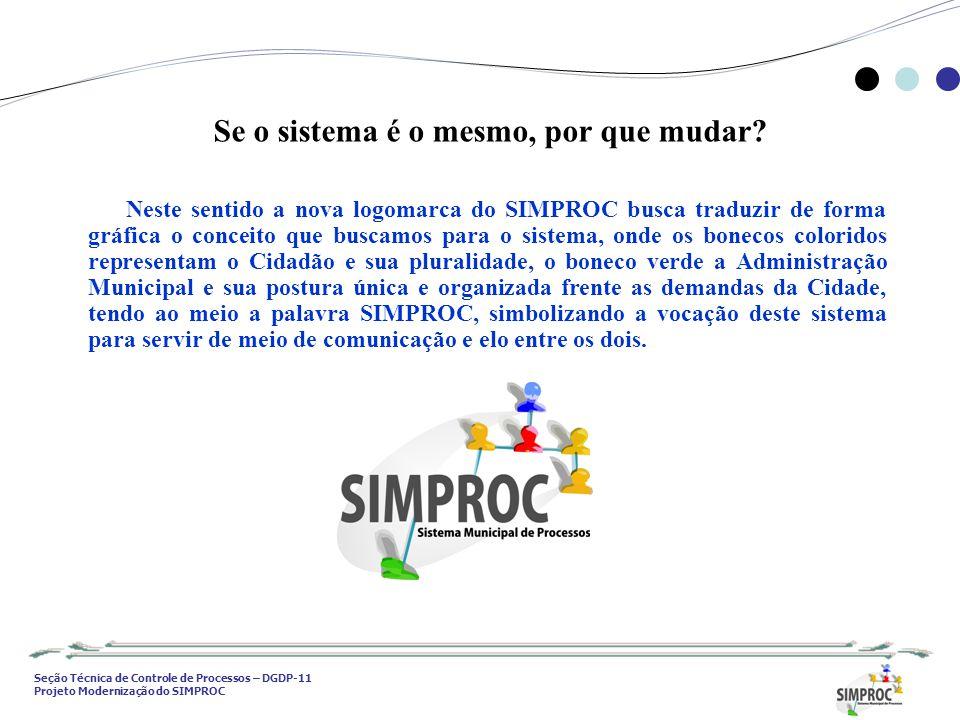 Seção Técnica de Controle de Processos – DGDP-11 Projeto Modernização do SIMPROC Neste sentido a nova logomarca do SIMPROC busca traduzir de forma grá