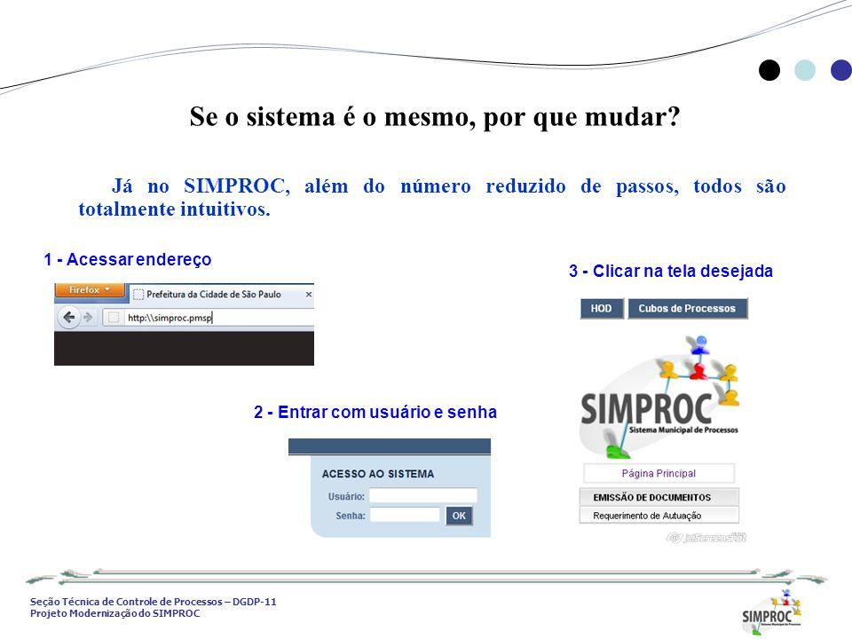 Seção Técnica de Controle de Processos – DGDP-11 Projeto Modernização do SIMPROC Se o sistema é o mesmo, por que mudar? Já no SIMPROC, além do número