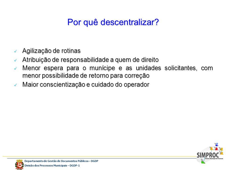 Departamento de Gestão de Documentos Públicos – DGDP Divisão dos Processos Municipais – DGDP-1 Por quê descentralizar? Agilização de rotinas Agilizaçã