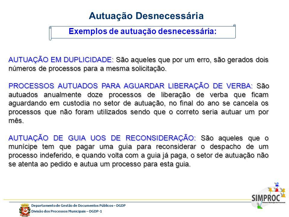 Departamento de Gestão de Documentos Públicos – DGDP Divisão dos Processos Municipais – DGDP-1 Exemplos de autuação desnecessária: AUTUAÇÃO EM DUPLICI