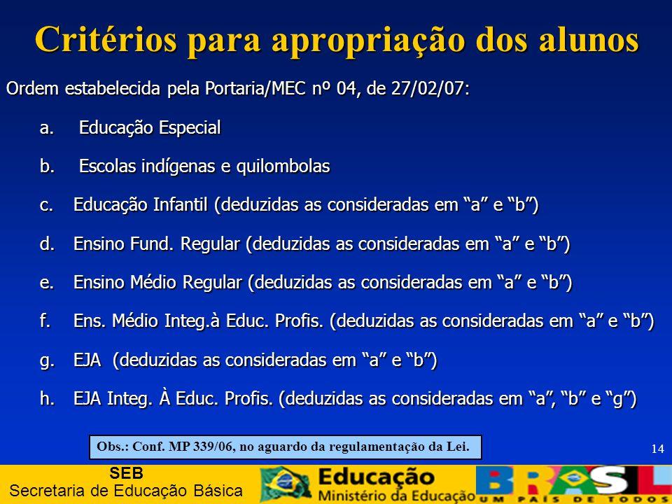 SEB Secretaria de Educação Básica 14 Critérios para apropriação dos alunos Ordem estabelecida pela Portaria/MEC nº 04, de 27/02/07: a.