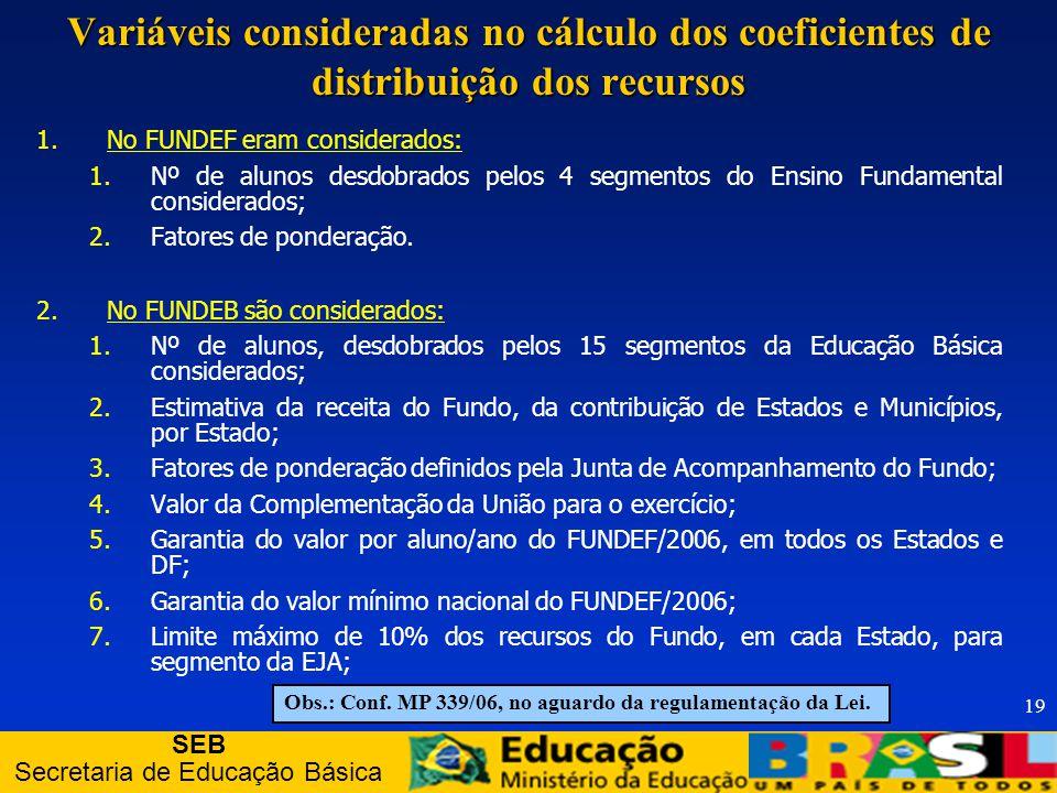 SEB Secretaria de Educação Básica 19 Variáveis consideradas no cálculo dos coeficientes de distribuição dos recursos 1.No FUNDEF eram considerados: 1.Nº de alunos desdobrados pelos 4 segmentos do Ensino Fundamental considerados; 2.Fatores de ponderação.