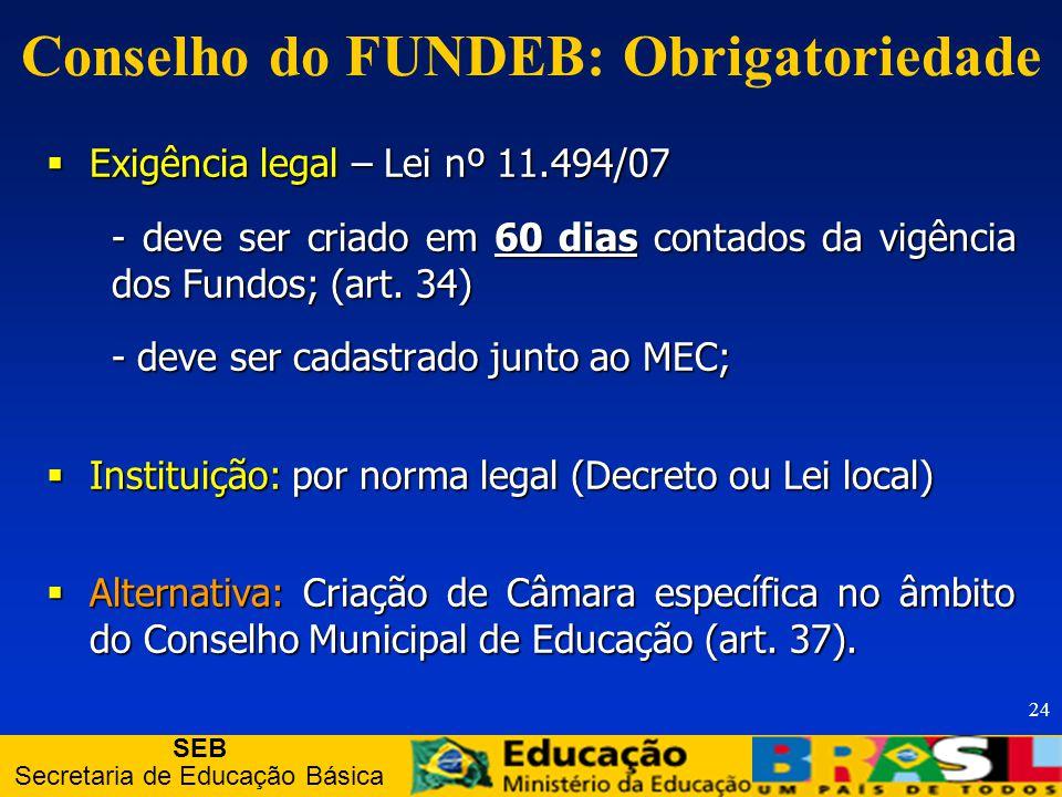 SEB Secretaria de Educação Básica 24 Conselho do FUNDEB: Obrigatoriedade Exigência legal – Lei nº 11.494/07 Exigência legal – Lei nº 11.494/07 - deve ser criado em 60 dias contados da vigência dos Fundos; (art.