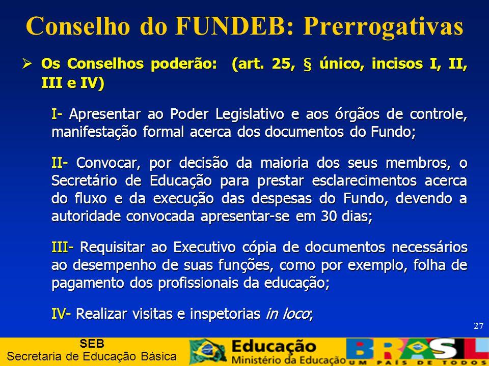 SEB Secretaria de Educação Básica 27 Conselho do FUNDEB: Prerrogativas Os Conselhos poderão: (art.