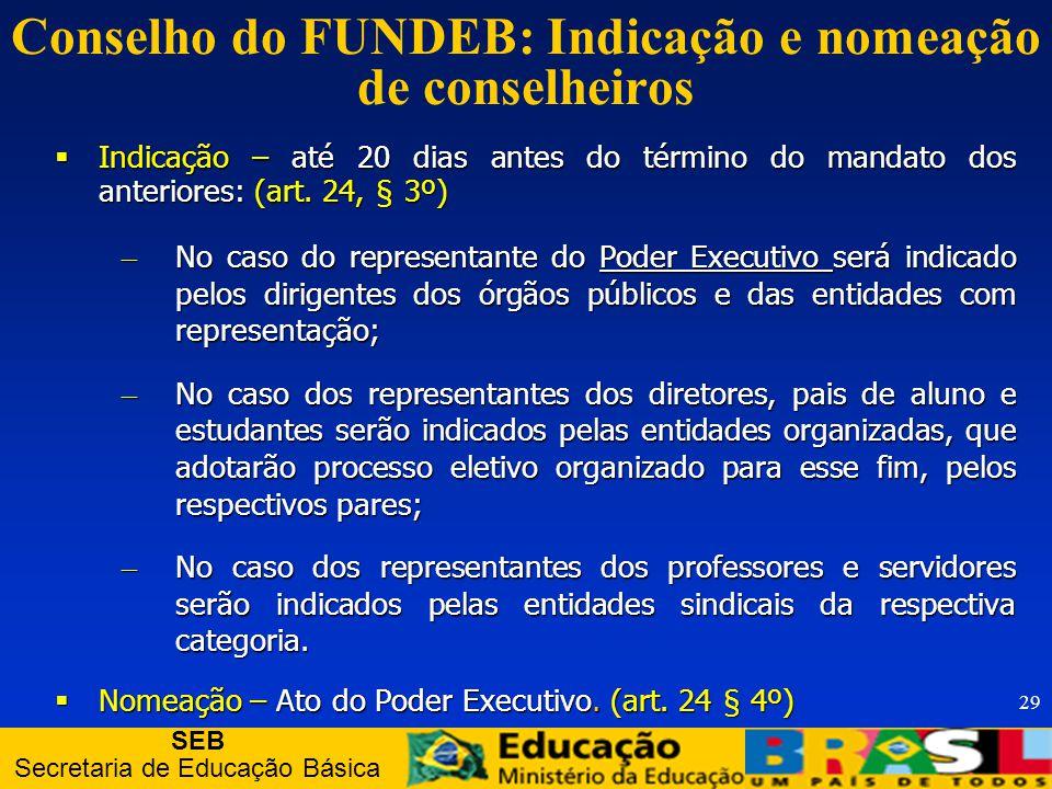 SEB Secretaria de Educação Básica 29 Conselho do FUNDEB: Indicação e nomeação de conselheiros Indicação – até 20 dias antes do término do mandato dos anteriores: (art.
