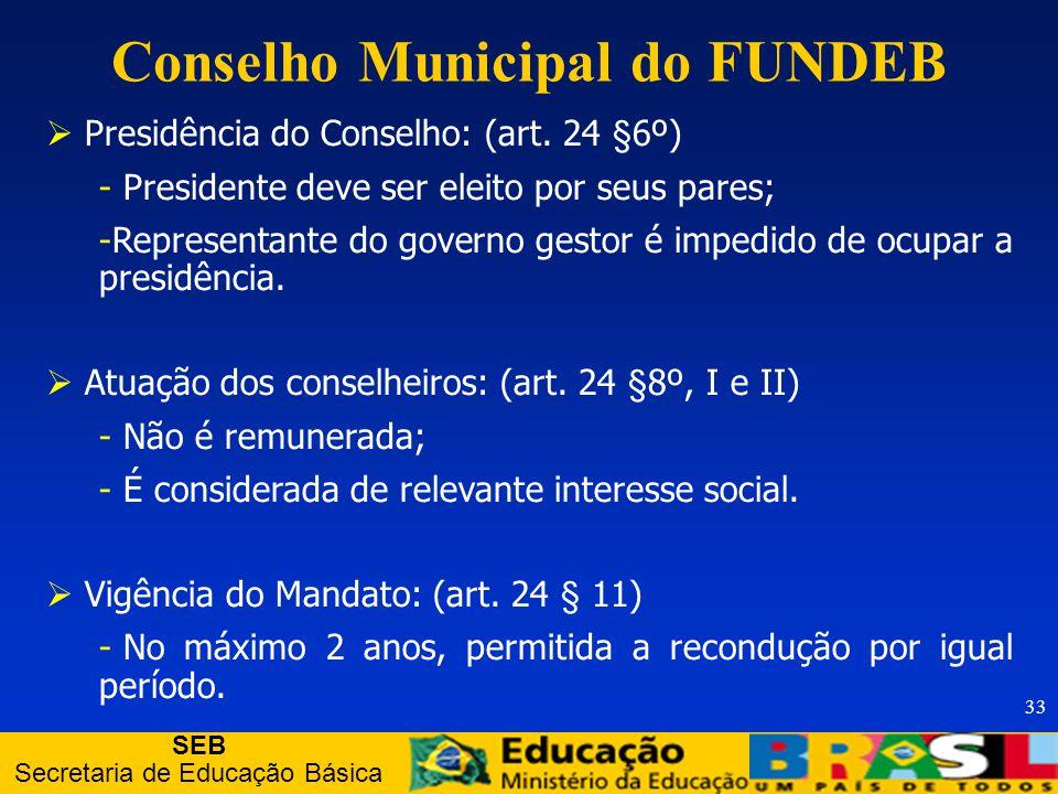 SEB Secretaria de Educação Básica 33 Presidência do Conselho: (art.