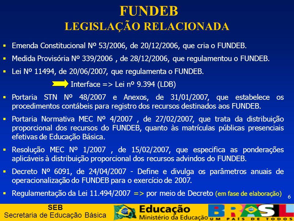 SEB Secretaria de Educação Básica 37 Órgãos de controle interno: Órgãos de controle interno: - Fiscalização e controle do total de recursos do Fundo, junto aos respectivos entes governamentais.