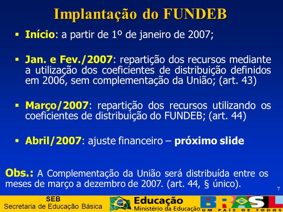 SEB Secretaria de Educação Básica 7 Implantação do FUNDEB Início: a partir de 1º de janeiro de 2007; Jan.