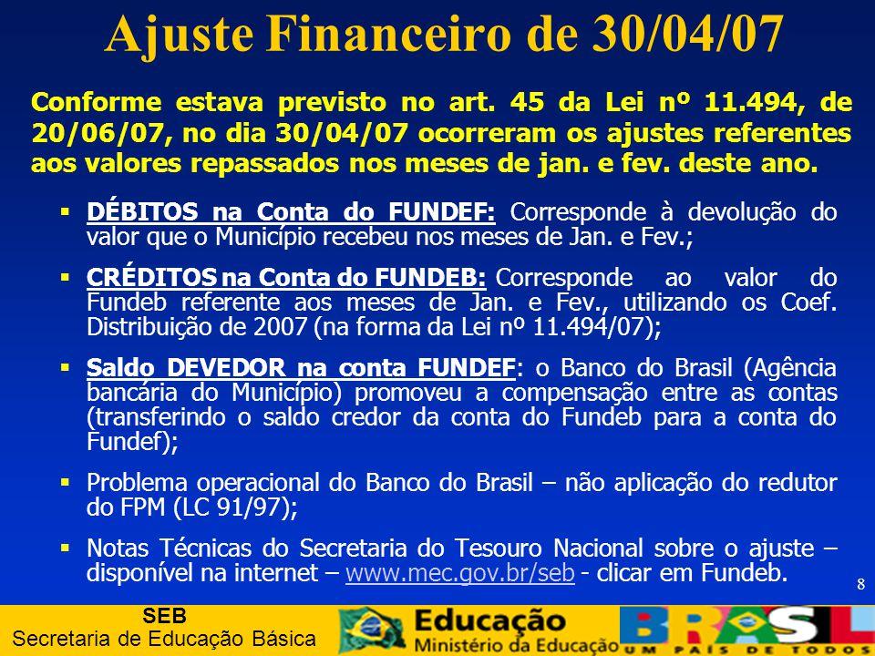 SEB Secretaria de Educação Básica 9 FPM FPE ICMS IPIexp LC 87 Composição do FUNDEB ITR ITCMD IPVA 16,66% em 2007 18,33% em 2008 e 20% a partir de 2009 6,66% em 2007 13,33% em 2008 e 20% a partir de 2009 Recursos que faziam parte do FUNDEF: Recursos novos: FUNDEB Complementação União Juros, Multas e Dívida Ativa sobre as fontes mães do FUNDEB (art.3º, IX) Rendimentos das eventuais aplicações financeiras com recursos do FUNDEB (art.