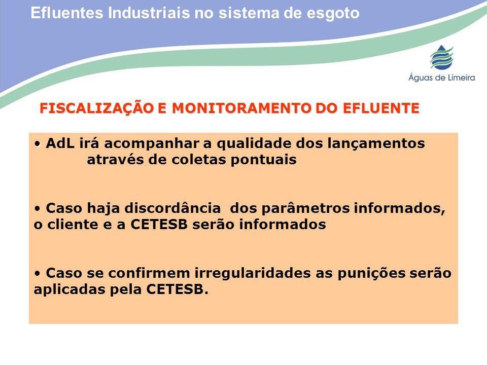 Efluentes Industriais no sistema de esgotoFISCALIZAÇÃO E MONITORAMENTO DO EFLUENTE AdL irá acompanhar a qualidade dos lançamentos através de coletas p