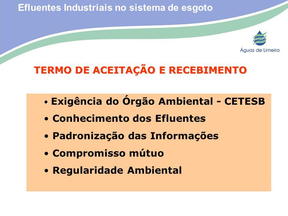 Efluentes Industriais no sistema de esgotoTERMO DE ACEITAÇÃO E RECEBIMENTO Exigência do Órgão Ambiental - CETESB Conhecimento dos Efluentes Padronizaç