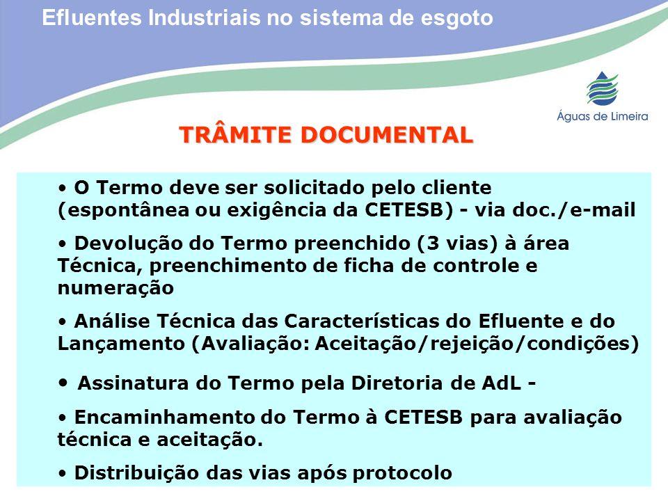 Efluentes Industriais no sistema de esgotoTRÂMITE DOCUMENTAL O Termo deve ser solicitado pelo cliente (espontânea ou exigência da CETESB) - via doc./e