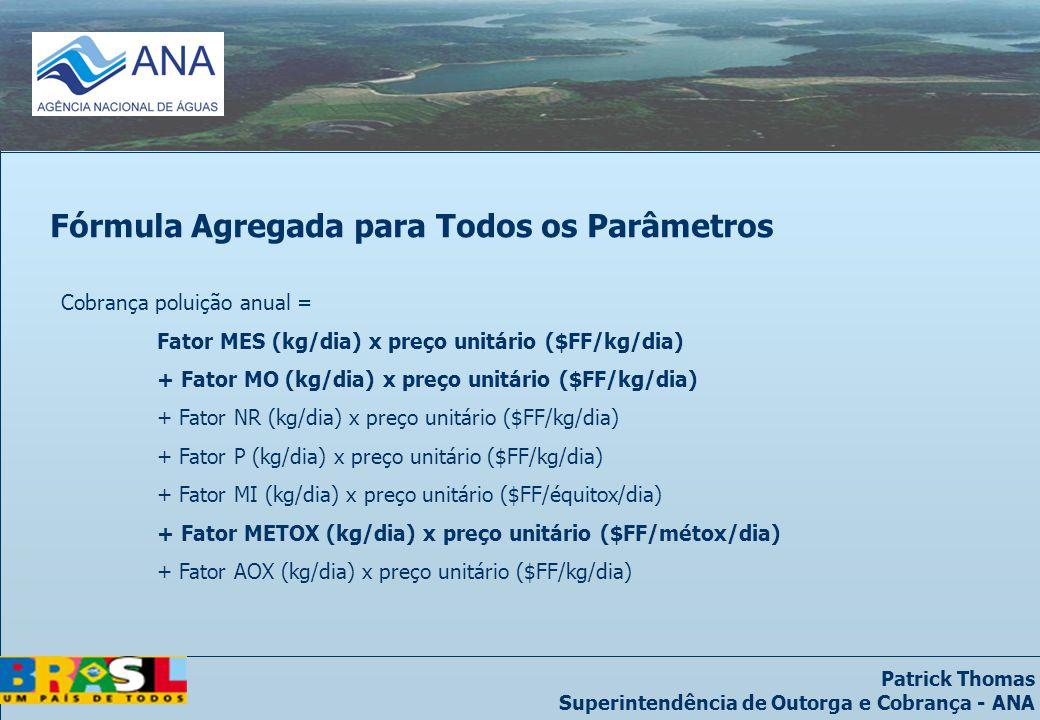 Patrick Thomas Superintendência de Outorga e Cobrança - ANA Cobrança poluição anual = Fator MES (kg/dia) x preço unitário ($FF/kg/dia) + Fator MO (kg/dia) x preço unitário ($FF/kg/dia) + Fator NR (kg/dia) x preço unitário ($FF/kg/dia) + Fator P (kg/dia) x preço unitário ($FF/kg/dia) + Fator MI (kg/dia) x preço unitário ($FF/équitox/dia) + Fator METOX (kg/dia) x preço unitário ($FF/métox/dia) + Fator AOX (kg/dia) x preço unitário ($FF/kg/dia) Fórmula Agregada para Todos os Parâmetros