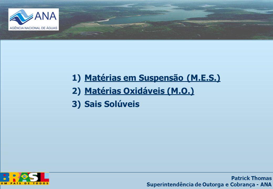 Patrick Thomas Superintendência de Outorga e Cobrança - ANA 1)Matérias em Suspensão (M.E.S.) 2)Matérias Oxidáveis (M.O.) 3)Sais Solúveis