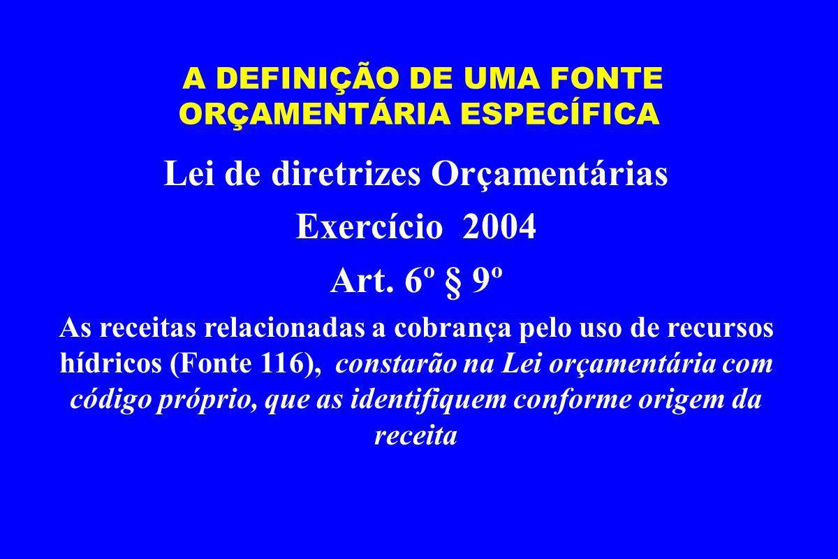 A DEFINIÇÃO DE UMA FONTE ORÇAMENTÁRIA ESPECÍFICA Lei de diretrizes Orçamentárias Exercício 2004 Art.