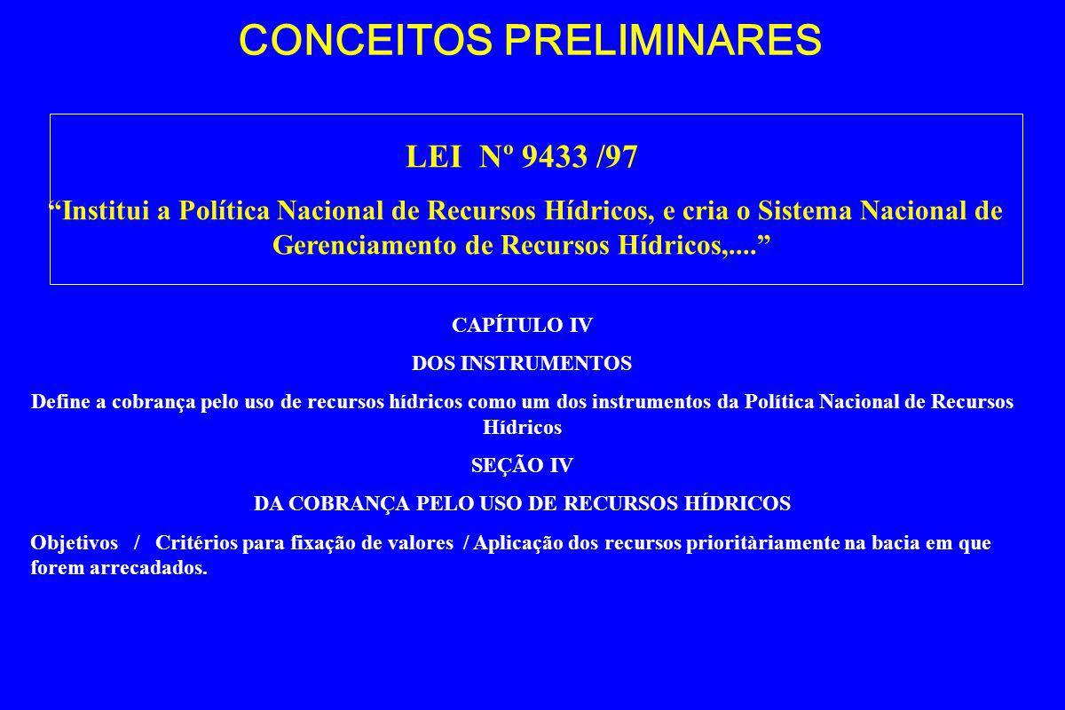 CONCEITOS PRELIMINARES LEI Nº 9984 /00 Dispõe sobre a criação da Agência Nacional de Águas - ANA,....