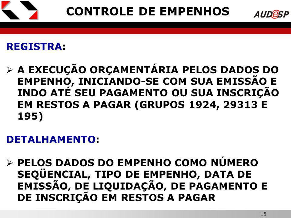 17 X PROGRAMAÇÃO FINANCEIRA REGISTRA: CRONOGRAMA DE DESEMBOLSO DE DESPESAS ORÇAMENTÁRIAS, TRANSFERÊNCIAS FINANCEIRAS E OUTRAS OPERAÇÕES EXTRAORÇAMENTÁRIAS PARA O EXERCÍCIO (GRUPOS 19311 E 29311) DETALHAMENTO: POR FONTES DE RECURSOS, GRUPOS DE DESPESAS E MÊS