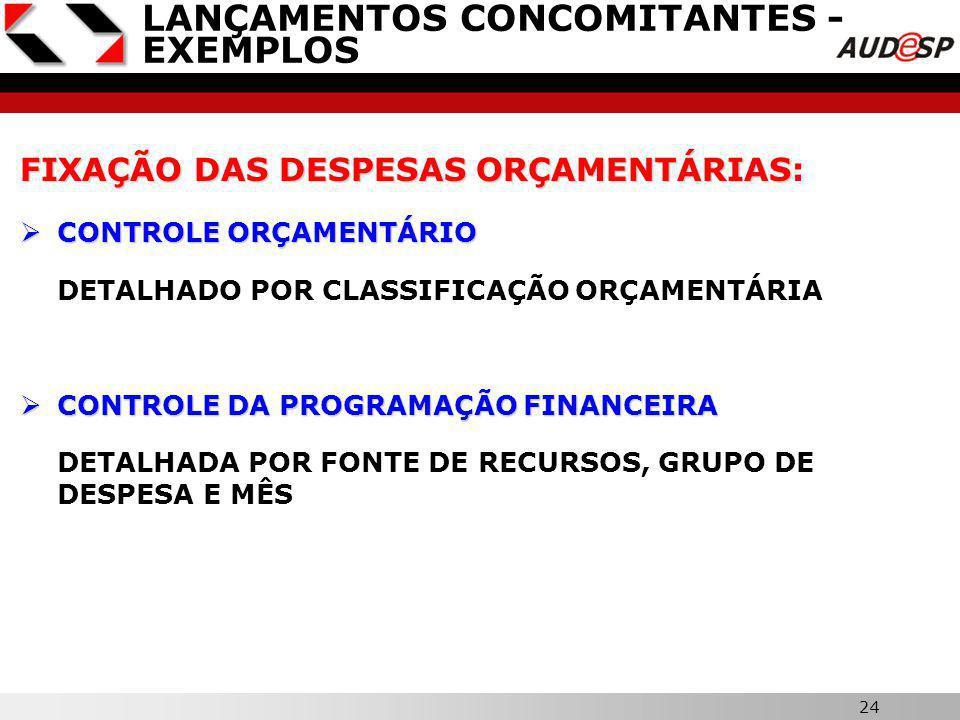 23 X LANÇAMENTOS CONCOMITANTES - EXEMPLOS ARRECADAÇÃO DAS RECEITAS ORÇAMENTÁRIAS ARRECADAÇÃO DAS RECEITAS ORÇAMENTÁRIAS: SISTEMA FINANCEIRO SISTEMA FINANCEIRO REGISTRO DO FATO PRINCIPAL CONTROLE ORÇAMENTÁRIO CONTROLE ORÇAMENTÁRIO DETALHADO POR CLASSIFICAÇÃO ORÇAMENTÁRIA CONTROLE FINANCEIRO DAS DISPONIBILIDADES CONTROLE FINANCEIRO DAS DISPONIBILIDADES DETALHADA POR FONTE DE RECURSOS