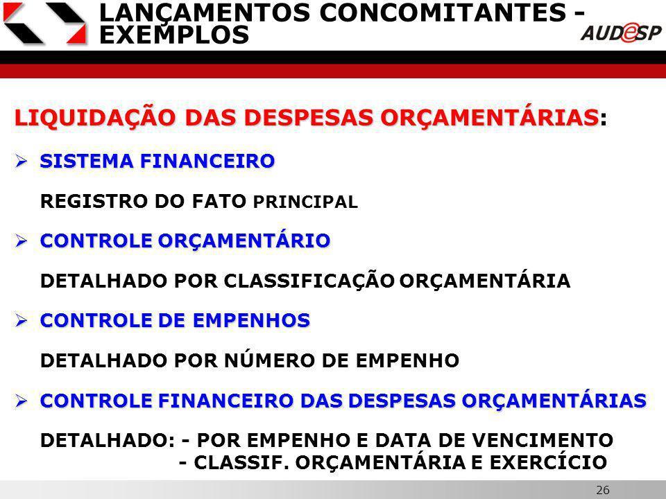 25 X LANÇAMENTOS CONCOMITANTES - EXEMPLOS EMPENHO DAS DESPESAS ORÇAMENTÁRIAS EMPENHO DAS DESPESAS ORÇAMENTÁRIAS: CONTROLE ORÇAMENTÁRIO CONTROLE ORÇAMENTÁRIO DETALHADO POR CLASSIFICAÇÃO ORÇAMENTÁRIA CONTROLE DE EMPENHOS CONTROLE DE EMPENHOS DETALHADO POR EMPENHO CONTROLE DA PROGRAMAÇÃO FINANCEIRA CONTROLE DA PROGRAMAÇÃO FINANCEIRA DETALHADO POR FONTE DE RECURSOS, GRUPO DE DESPESA E MÊS