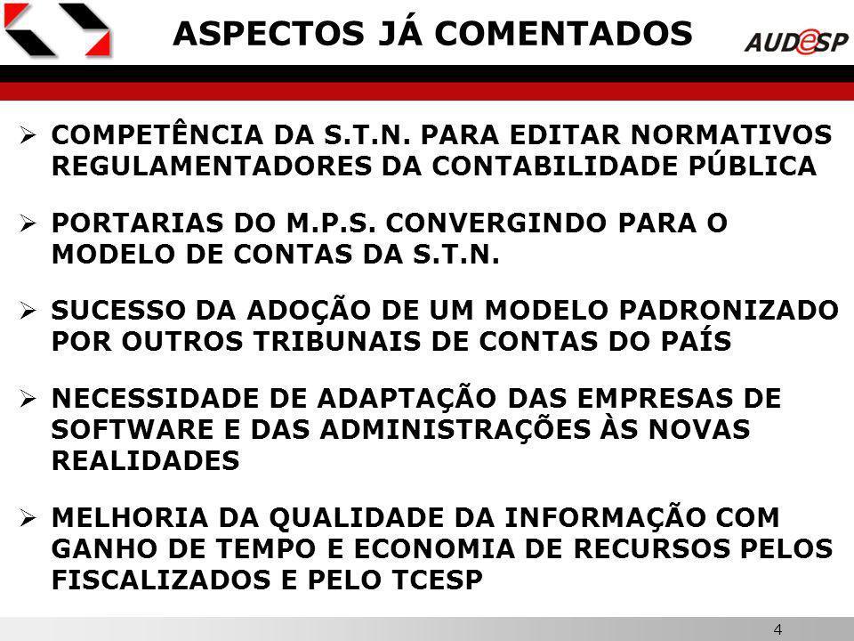34 X LEMBRETE IMPORTANTE A ELABORAÇÃO DO BALANÇO DE ABERTURA NA ESTRUTURA DE CÓDIGOS DO AUDESP OS PRINCIPAIS LANÇAMENTOS (FATO PRINCIPAL E CONCOMITANTES) O ENCERRAMENTO DO EXERCÍCIO ELABORAÇÃO DOS BALANÇOS E DEMAIS ANEXOS DA LEI Nº 4.320/64 ELABORAÇÃO DAS DEMONSTRAÇÕES FINANCEIRAS DA LEI Nº 6.404/76 O MANUAL DE ORIENTAÇÃO CONTERÁ ROTEIROS PARA: