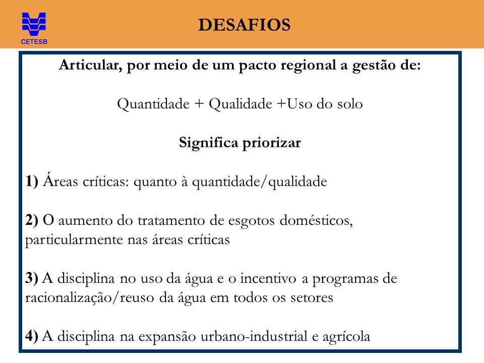 DESAFIOS Articular, por meio de um pacto regional a gestão de: Quantidade + Qualidade +Uso do solo Significa priorizar 1) Á reas críticas: quanto à qu