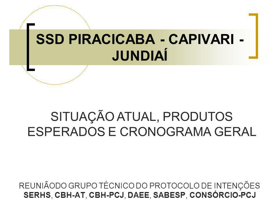 SSD PIRACICABA - CAPIVARI - JUNDIAÍ REUNIÃODO GRUPO TÉCNICO DO PROTOCOLO DE INTENÇÕES SERHS, CBH-AT, CBH-PCJ, DAEE, SABESP, CONSÓRCIO-PCJ SITUAÇÃO ATU