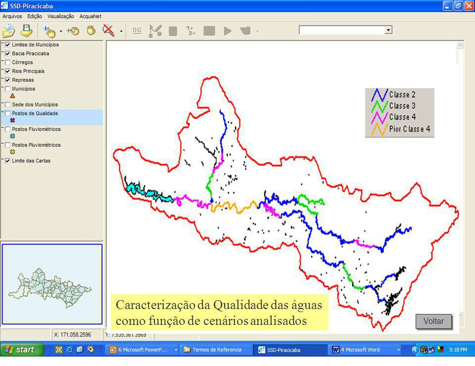 Caracterização da Qualidade das águas como função de cenários analisados Voltar