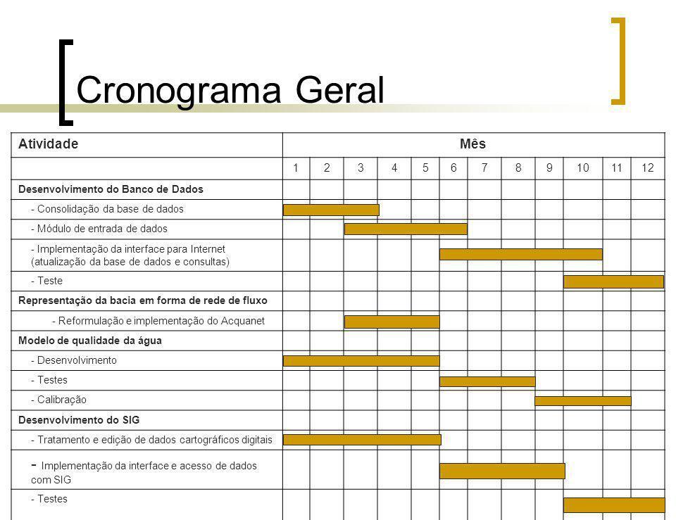 Cronograma Geral AtividadeMês 123456789101112 Desenvolvimento do Banco de Dados - Consolidação da base de dados - Módulo de entrada de dados - Impleme