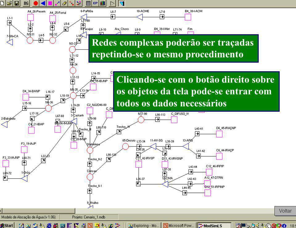 Redes complexas poderão ser traçadas repetindo-se o mesmo procedimento Clicando-se com o botão direito sobre os objetos da tela pode-se entrar com tod