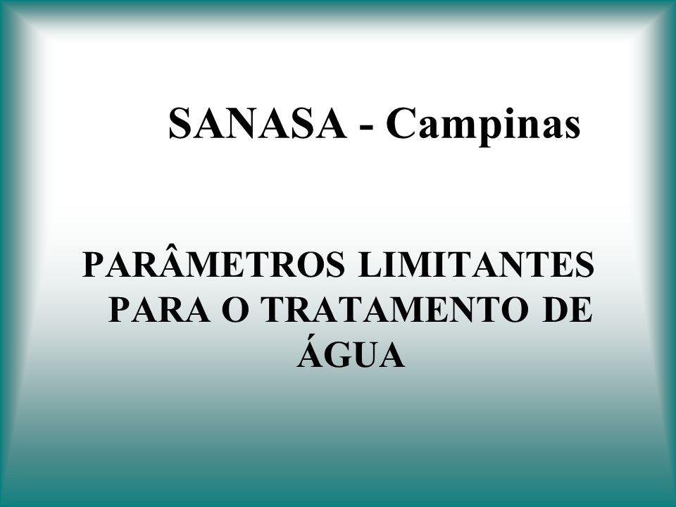 SANASA - Campinas PARÂMETROS LIMITANTES PARA O TRATAMENTO DE ÁGUA